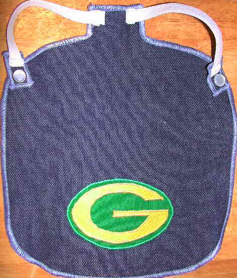 green bay G on blue denim