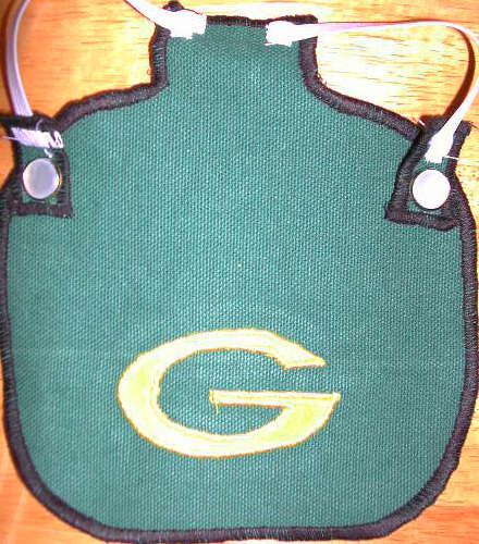 green bay G on green denim